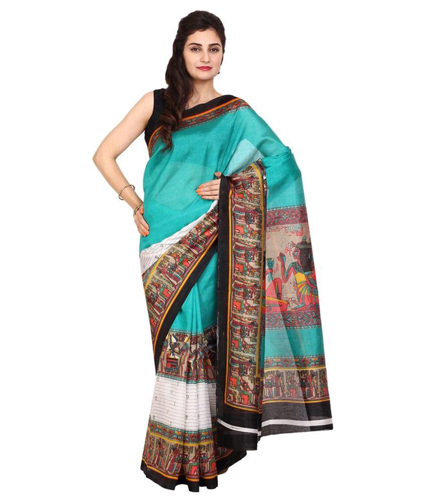 Satrang Turquoise Art Silk Saree
