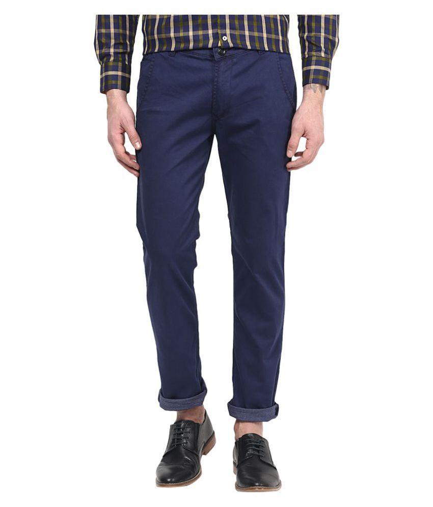 Silver Streak Navy Blue Slim Flat Trouser