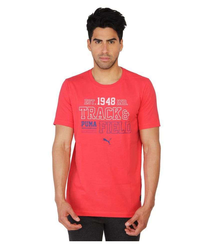 Puma Mens Red Printed T-Shirt