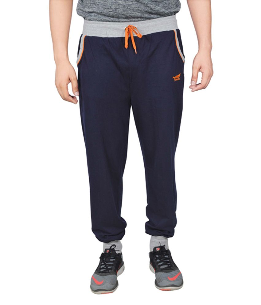 NNN Navy Blue Cotton Sports Men's Full Track Pant