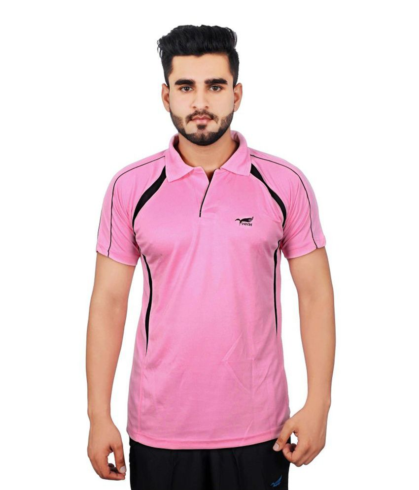 NNN Pink Half Sleeves Dry Fit Men's T-shirt
