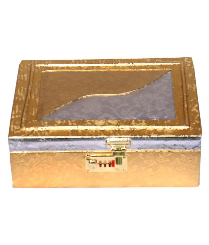 Leather World Golden Leather Jewellery Box