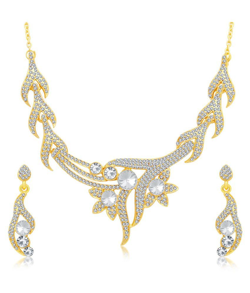 Sukkhi Golden Alloy Necklace Set for Women