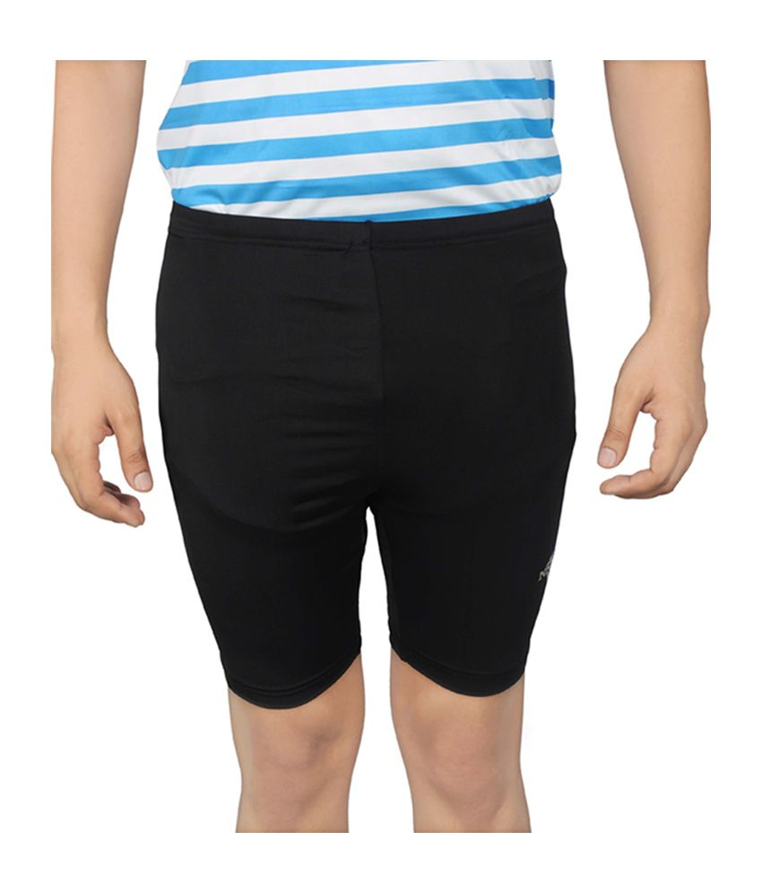 NNN Black Knee Length Men's Lycra Cycling Shorts