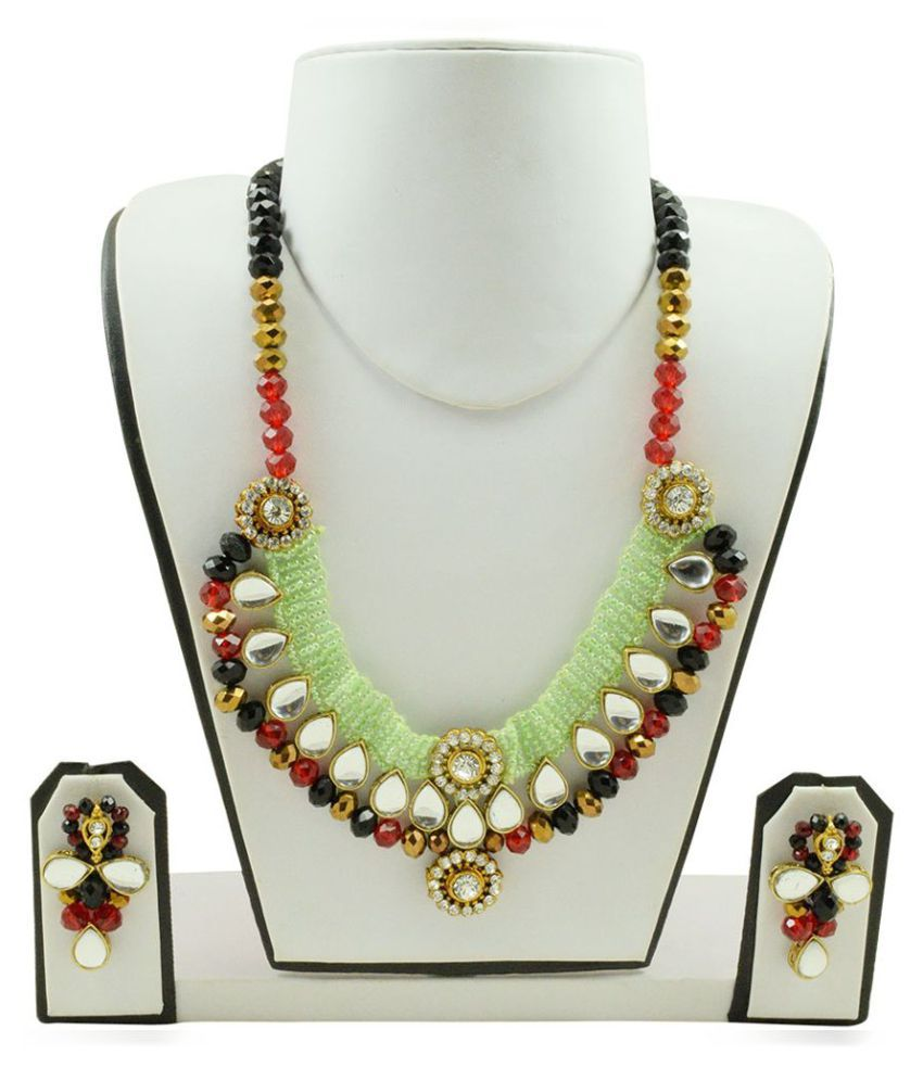 Fashionvalley Designer Jeko Moti, Crystal Beads Kundan Necklace Set for Women
