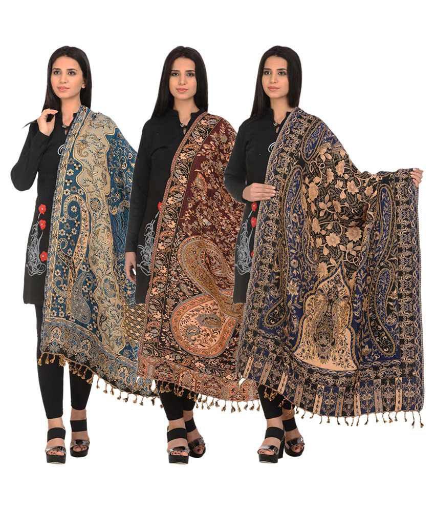 Hardys Collection Multicoloured Woollen Digital Printed Shawls