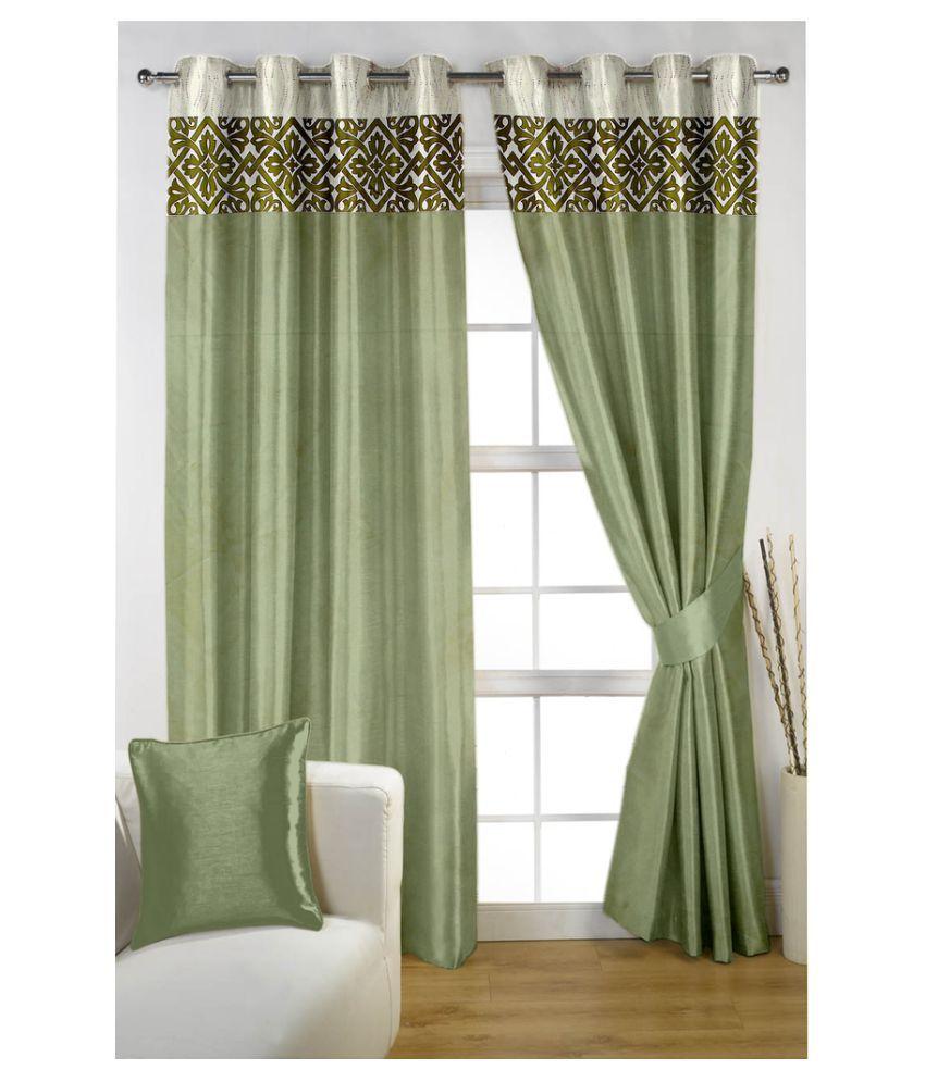 Homec Set of 2 Long Door Eyelet Curtain Printed Green