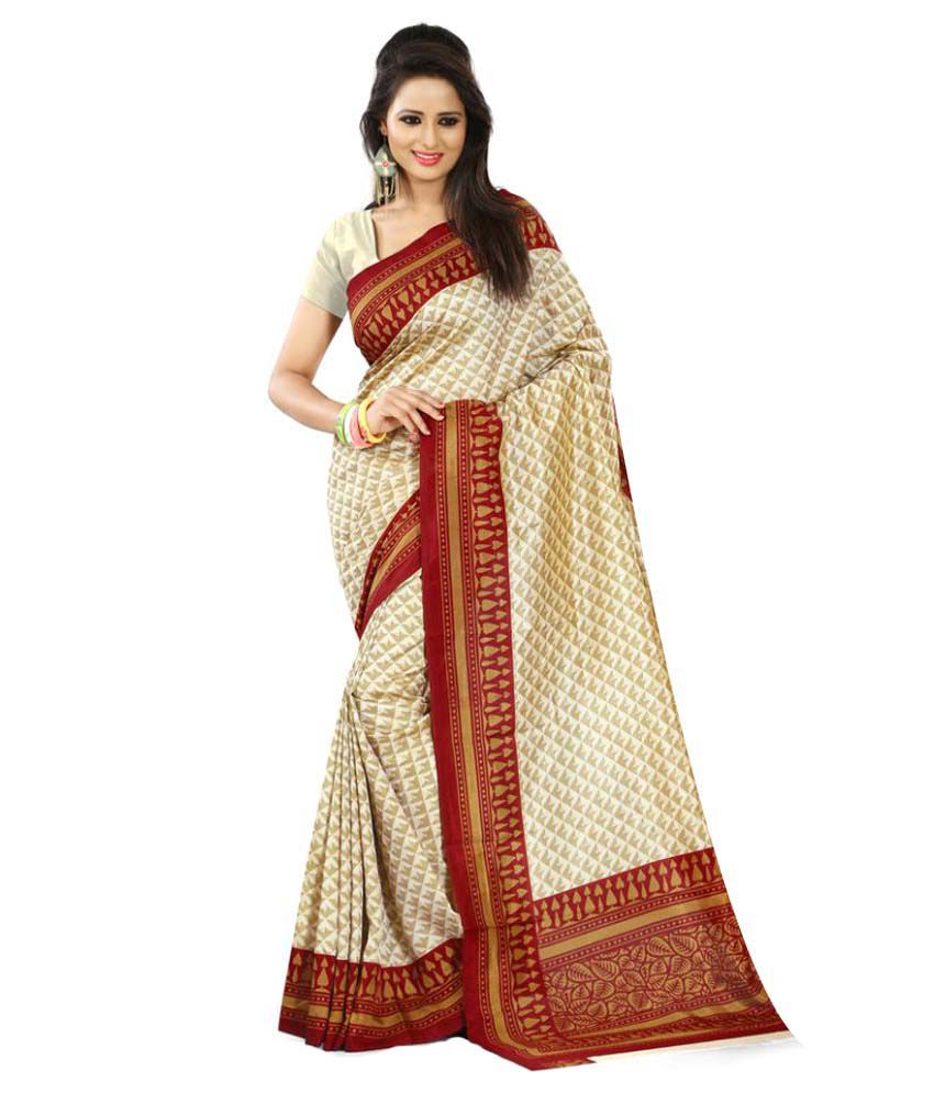 SGM Beige Art Silk Saree