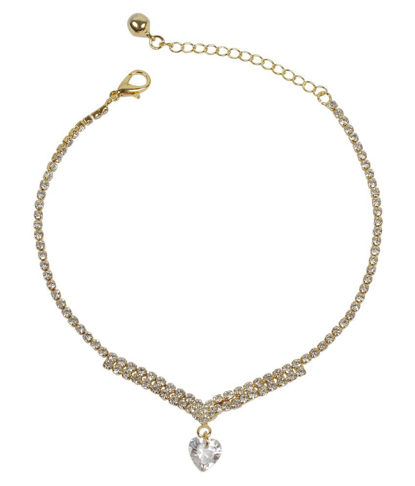 Much More Golden and White Alloy Anklet