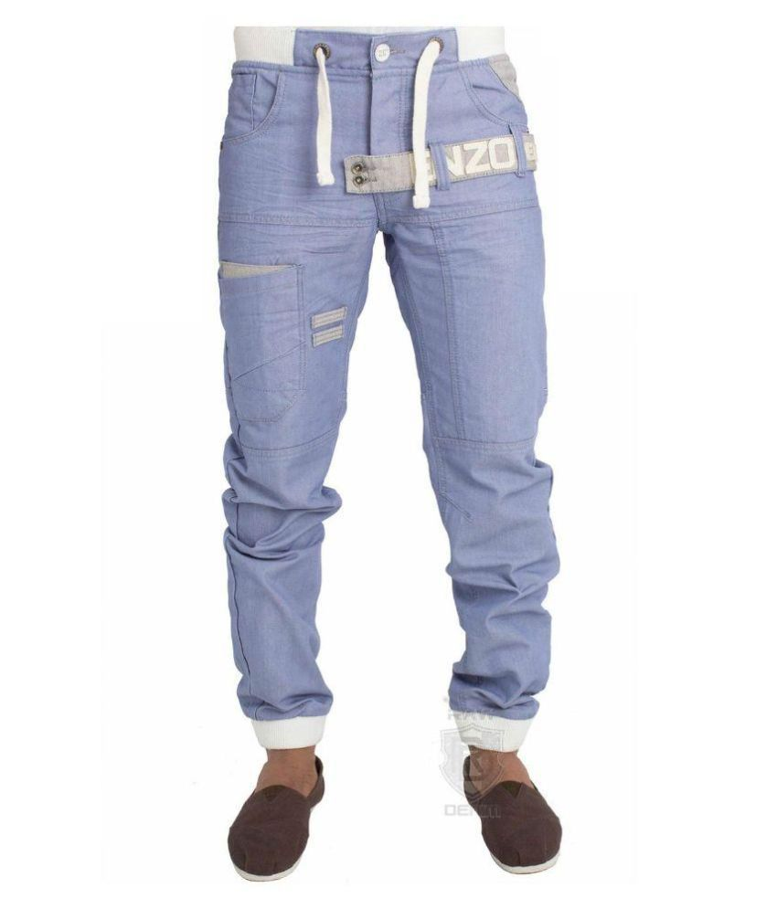Enzo Blue Cotton Polyester Jogger