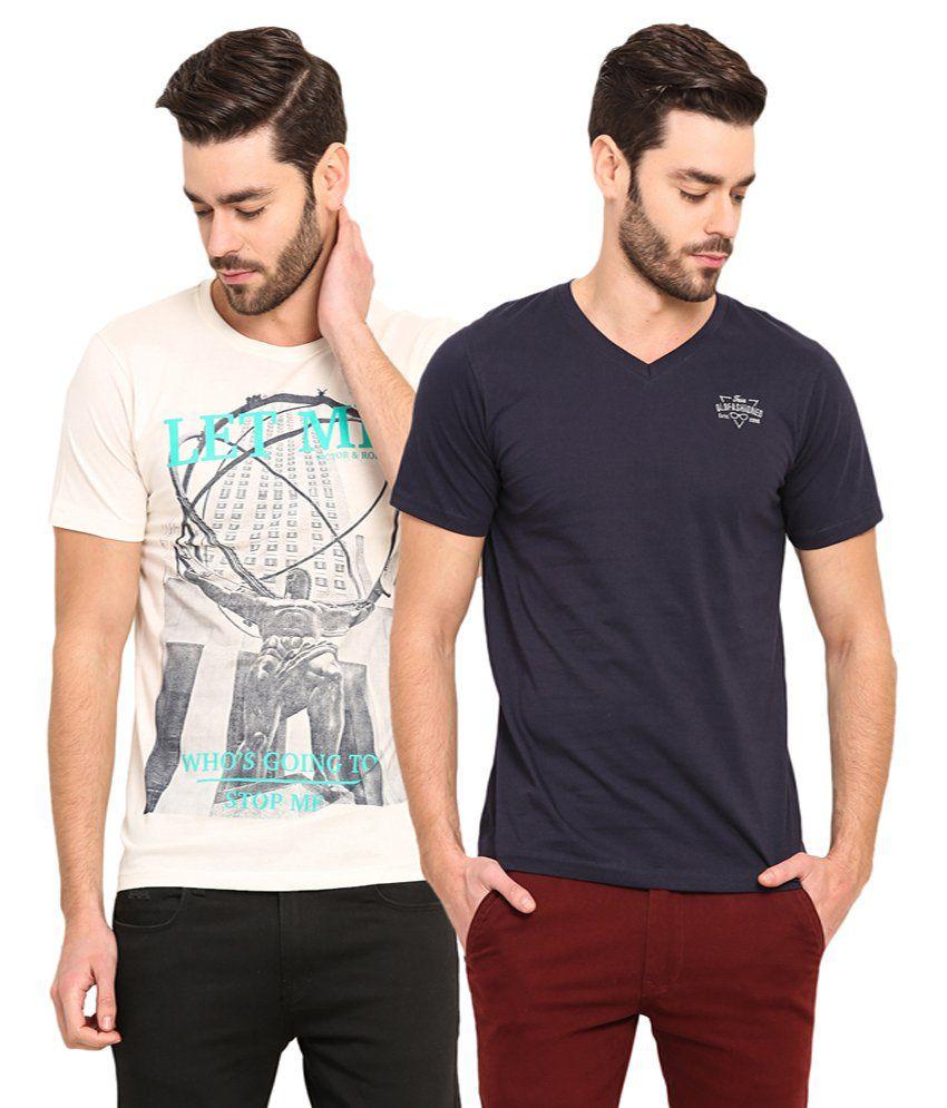 Mode Vetements Multi V-Neck T-Shirt Pack of 2