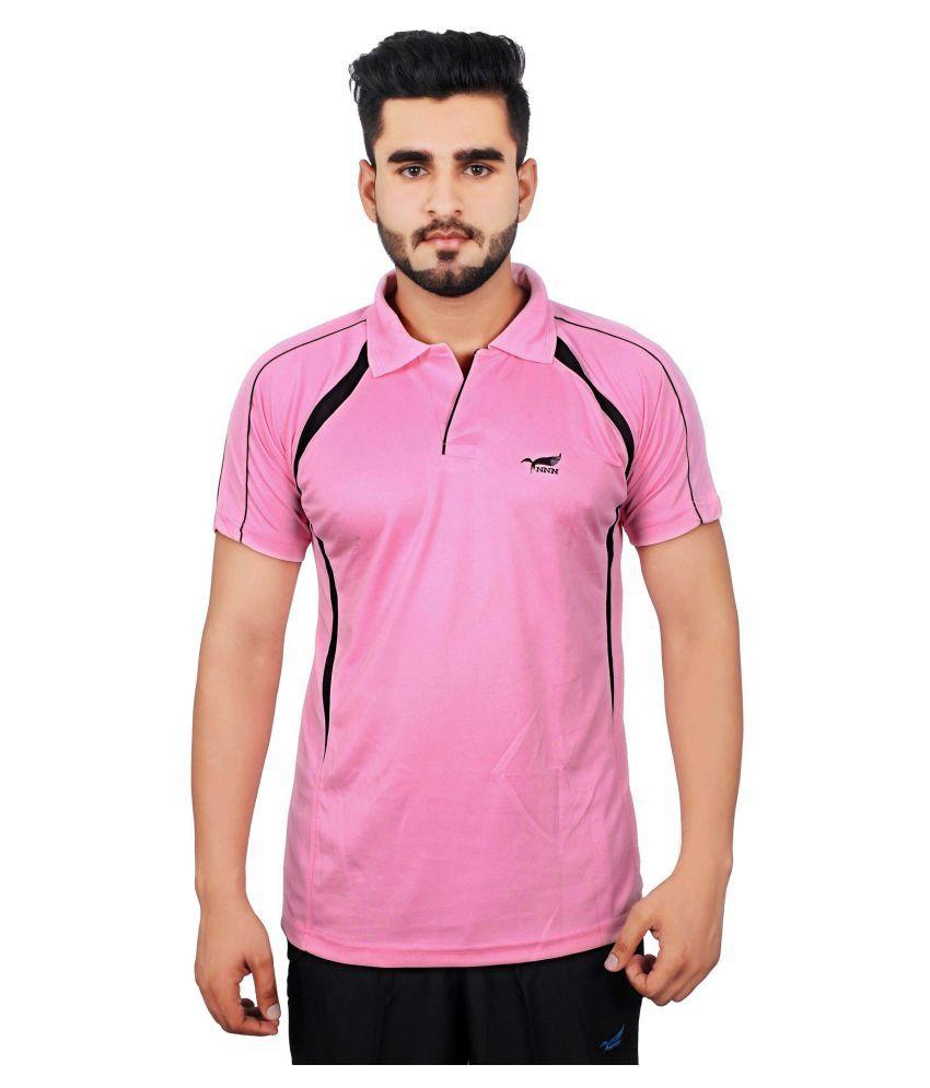 NNN Men's Pink Half Sleeves Dry Fit T-shirt