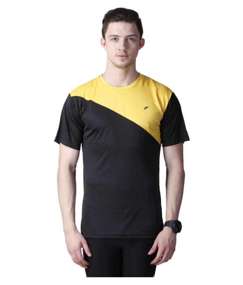 Flingr Black Polyester T-Shirt
