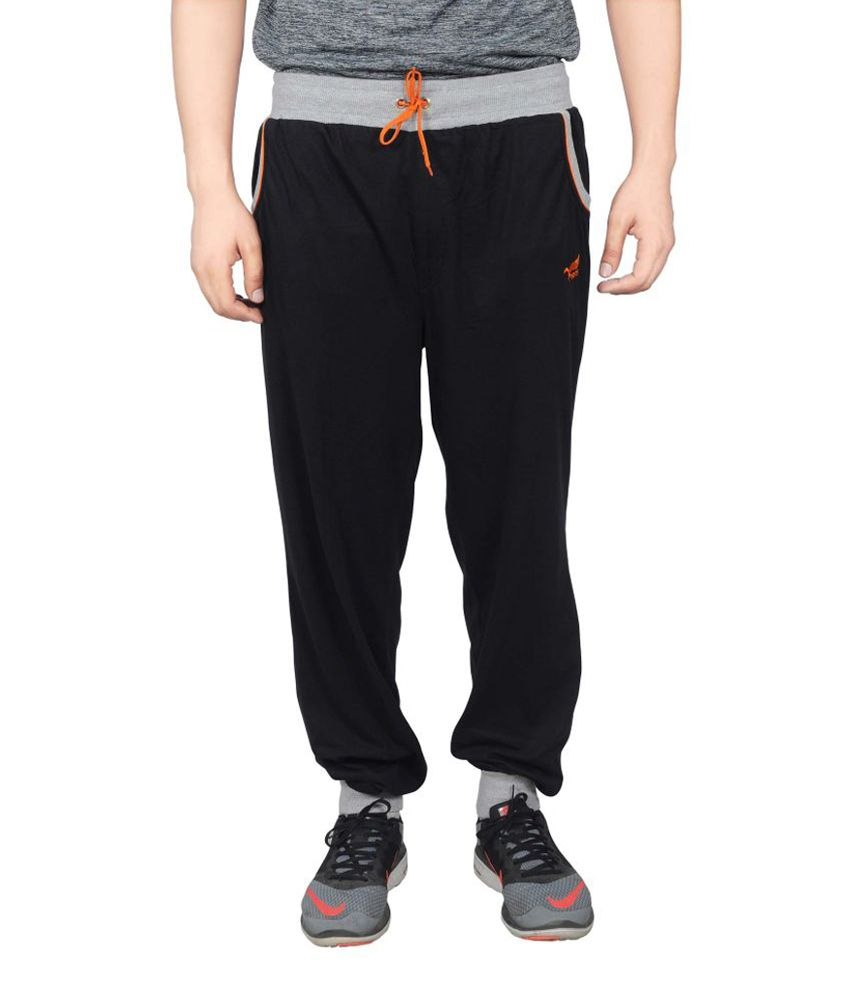 NNN Black Cotton Sports Full Men's Track Pant
