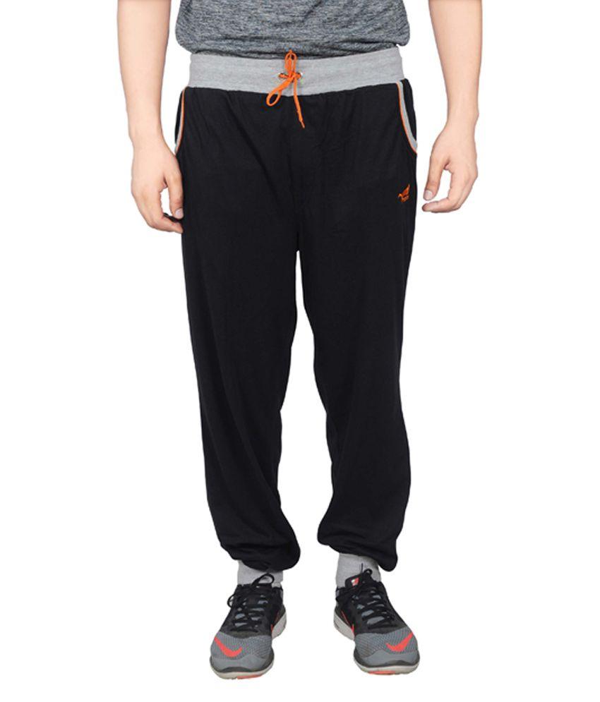 NNN Black Cotton Sports Full Men's Track Pant