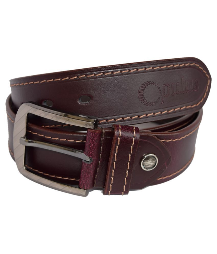 Opulus Maroon Leather Formal Belts