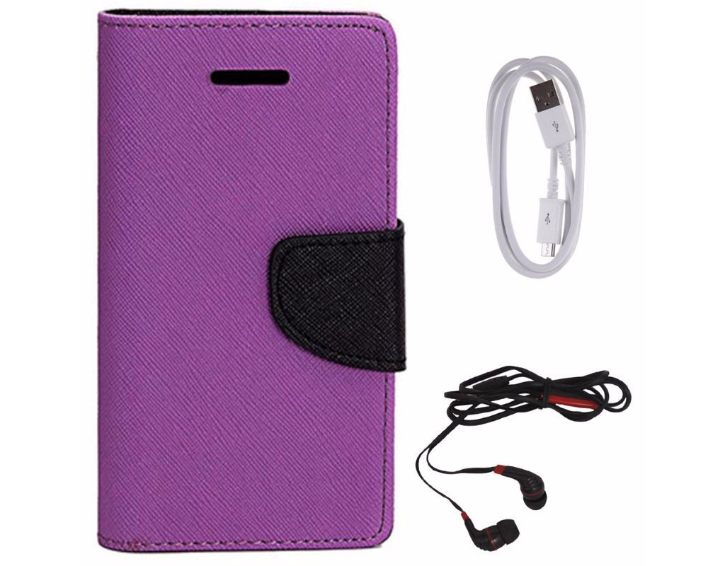 Avzax Diary Look Flip Wallet Case Cover For Sony Xperia C (Purple) +  Audio Cable Splitter + In Ear Headphone