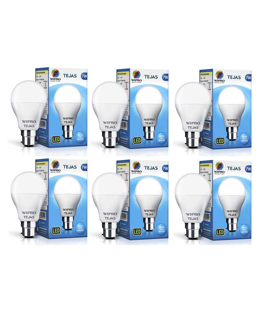 Wipro Tejas 7W (Pack of 6) LED Bulb- Cool Day Light