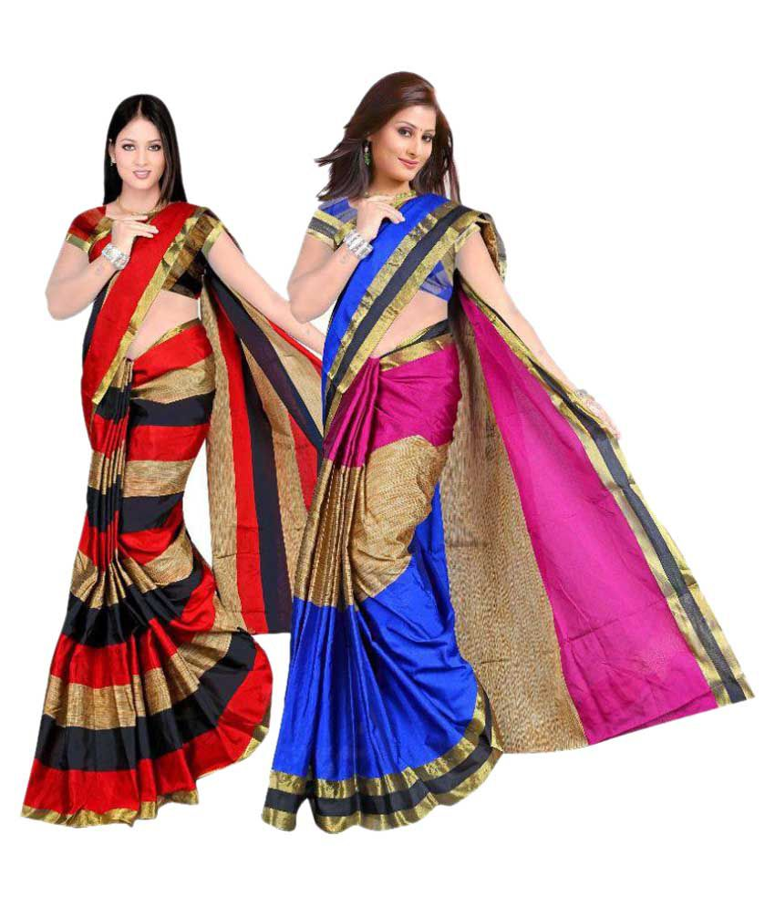 39a0b7f2b 7 Brothers Red and Black Cotton Silk Saree Combos - Buy 7 Brothers Red and  Black Cotton Silk Saree Combos Online at Low Price - Snapdeal.com