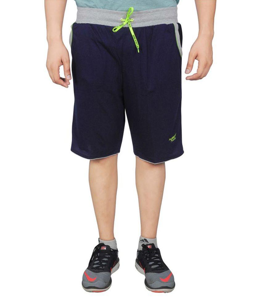 NNN Navy Blue Knee Length Cotton Men's Bermuda