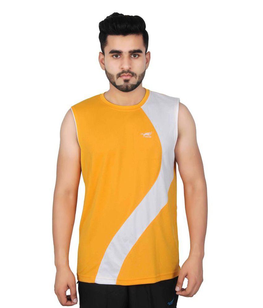NNN Yellow Sleeveless Dry Fit Men's T-shirt