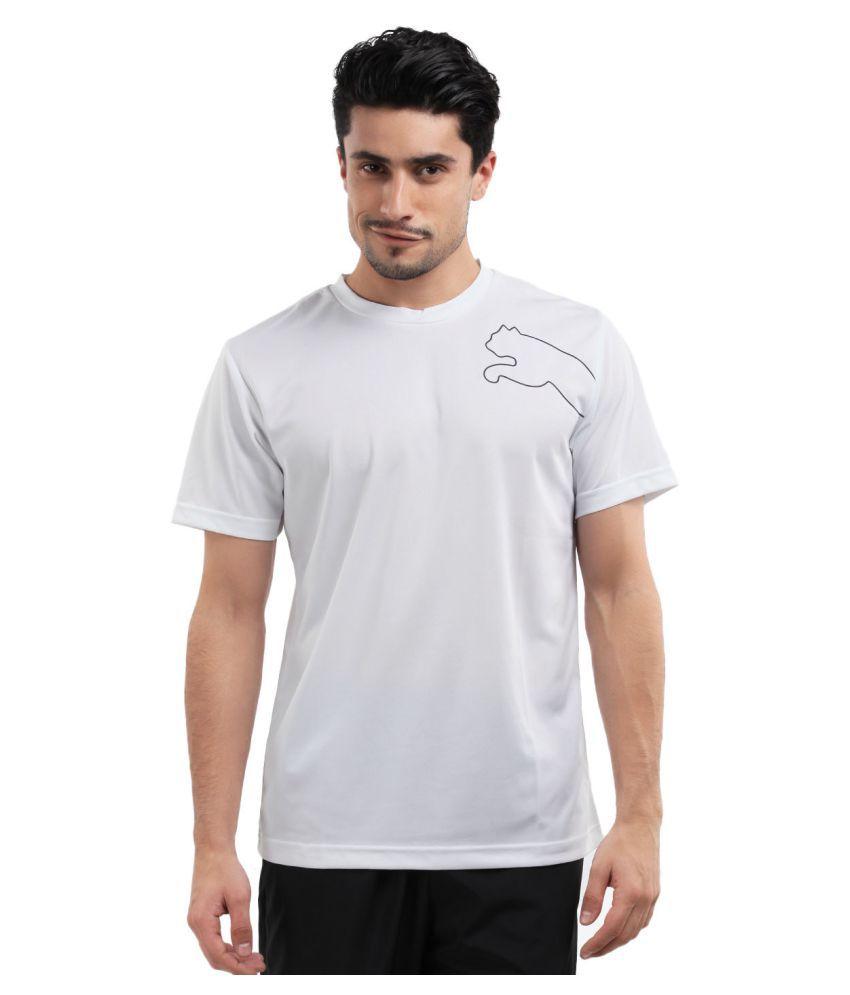 Puma White Polyster T Shirt