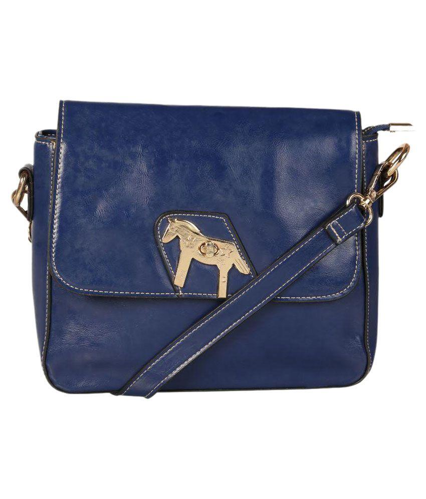 Satchel Blue Fabric Sling Bag
