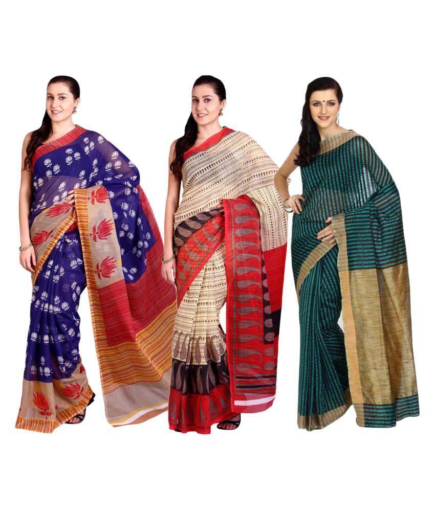 Parchayee Multicoloured Cotton Saree Combos