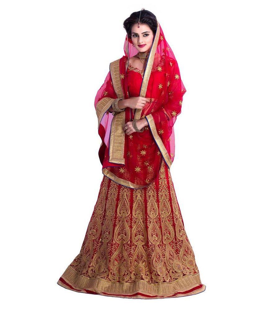 Aarya Fashion Red Net Circular Semi Stitched Lehenga