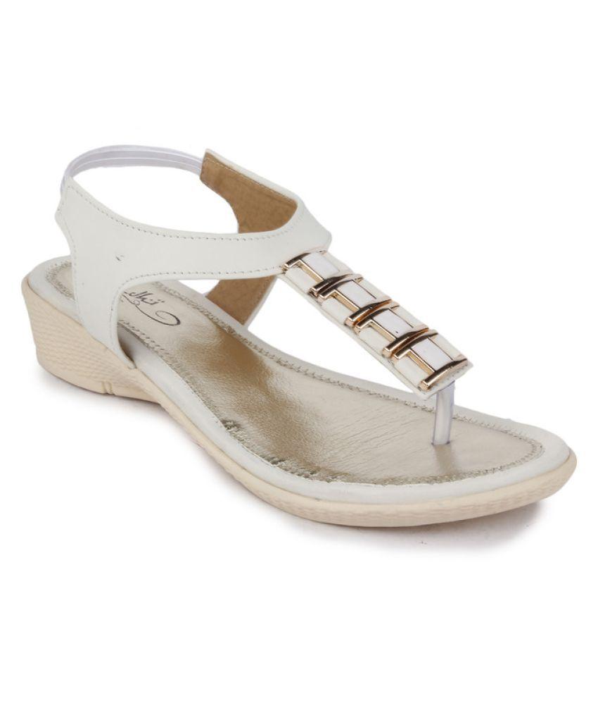 Sindhi Footwear White Wedges Heels