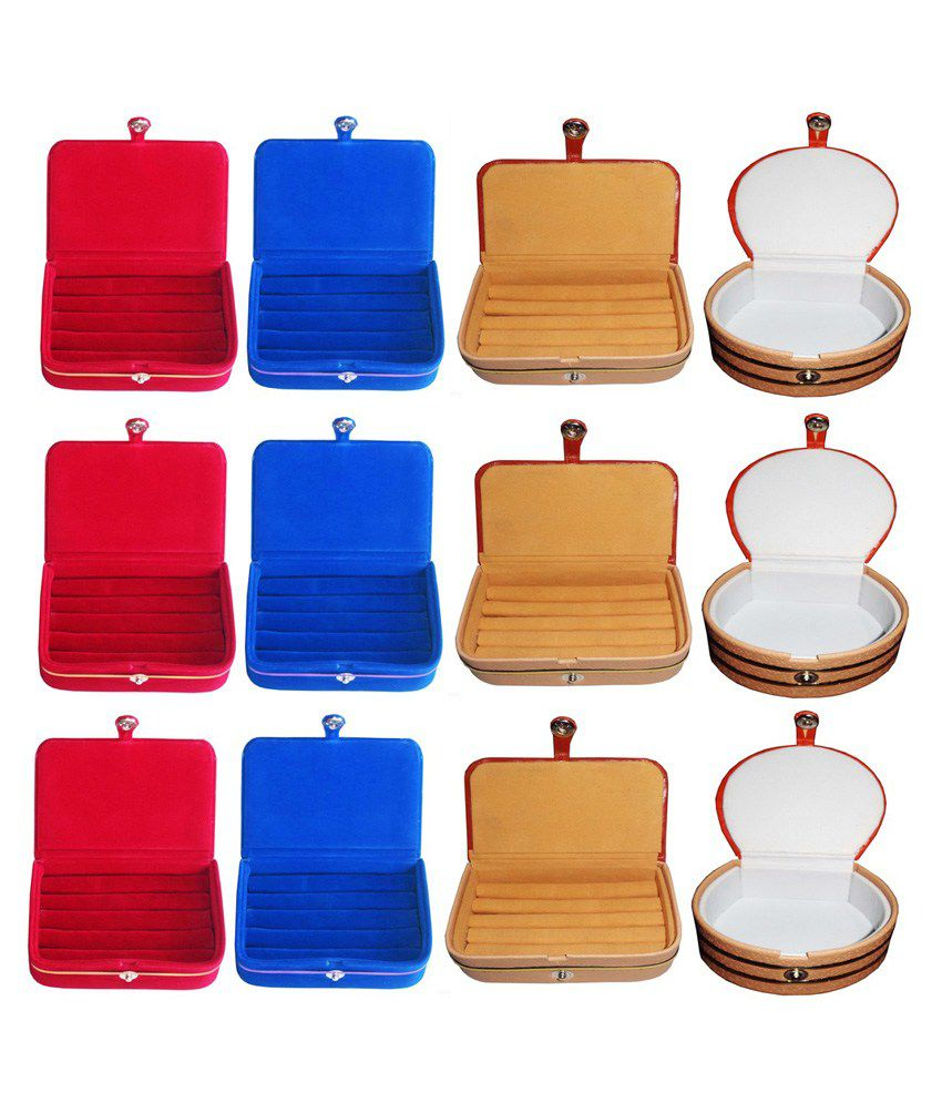 Abhinidi Combo of Three Multicolour Earrings Boxes, Three Ring Boxes, Three Earrings Folders and Three Bangle Jewelry Vanity Cases