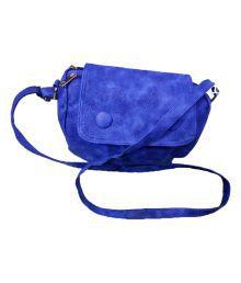 P&V Fashion Blue Faux Leather Sling Bag