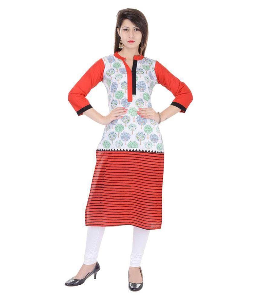 Trisha Multicoloured Cotton Straight Block printed Kurti