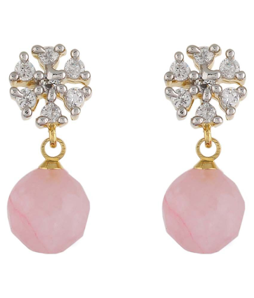 Jewel Planet Alloy Pink Coloured Bead Drop Earring