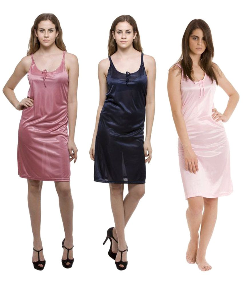 Winsome Deal Multi Color Satin Nighty & Night Gowns