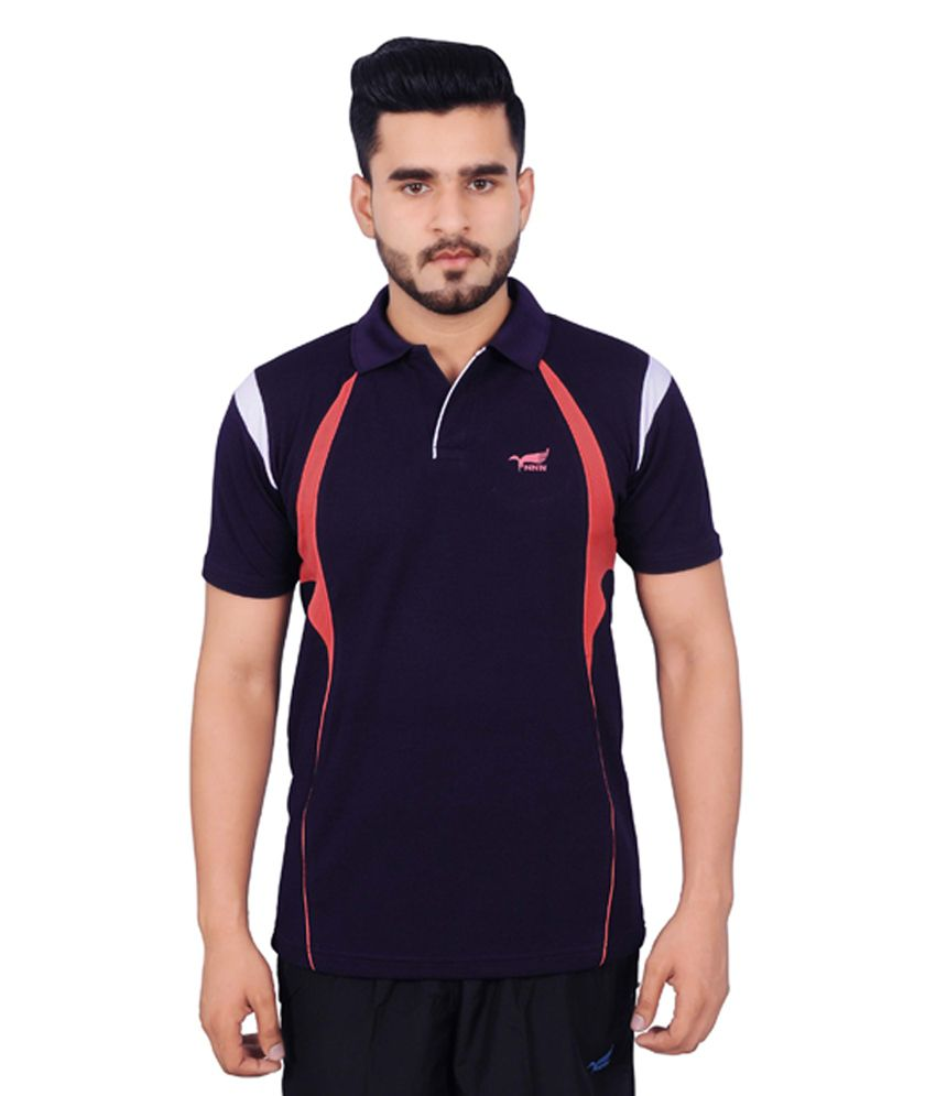 NNN Navy Blue Half Sleeves Dry Fit Men's T-shirt