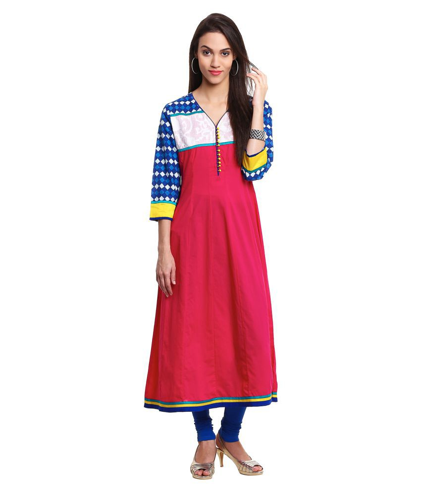 Prakhya Pink Cotton Anarkali Self print Kurti
