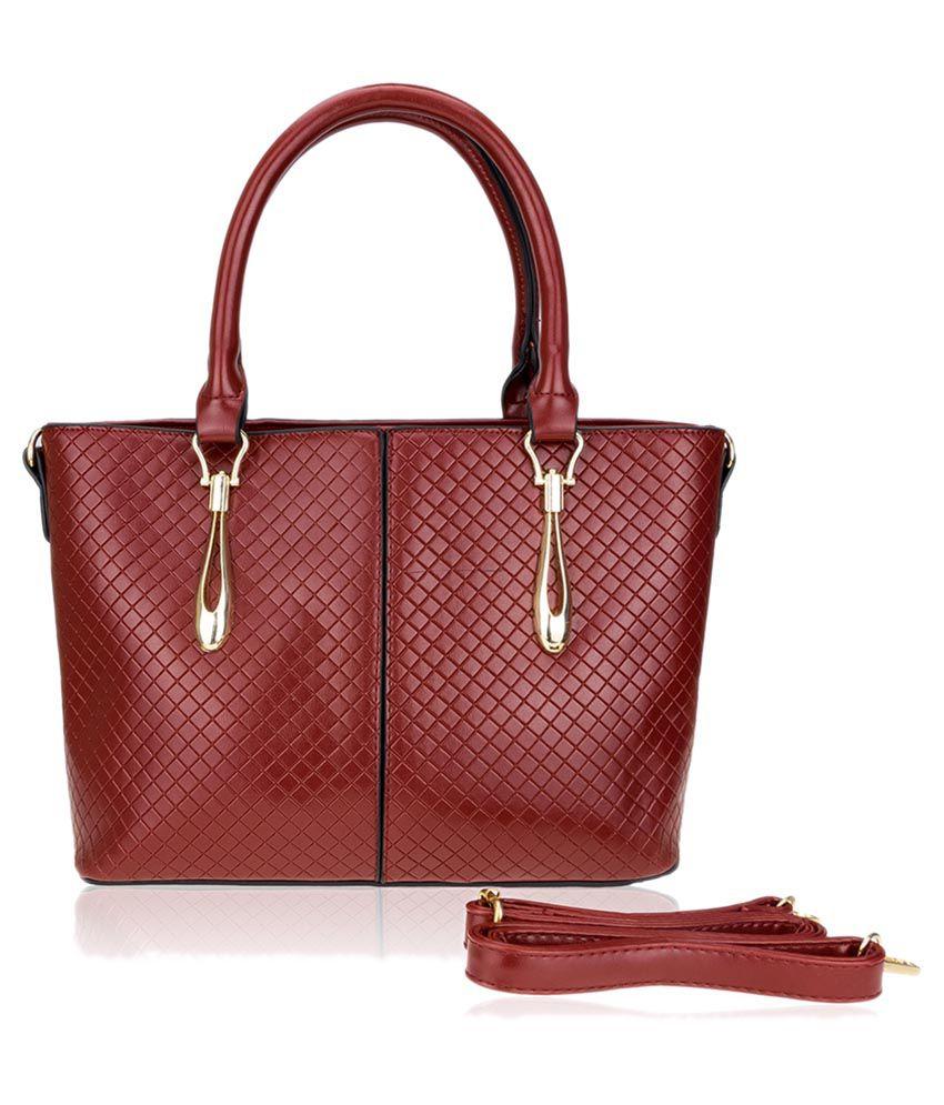 Zeva Maroon Faux Leather Shoulder Bag