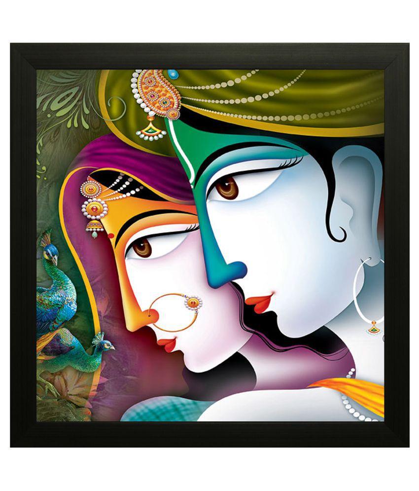 SAF Radhe Krishna Wood Art Prints With Frame Single Piece