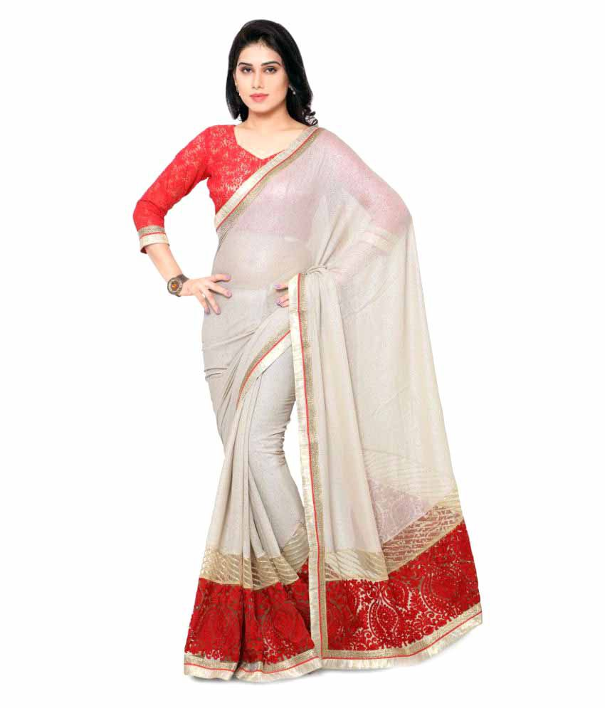 Aagaman Fashions White Georgette Saree