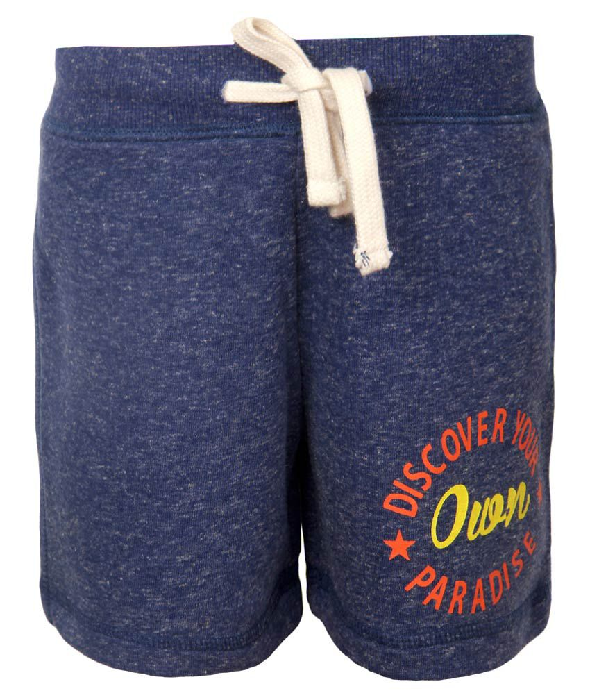 Vitamins Navy Blue Printed Regular Fit Shorts