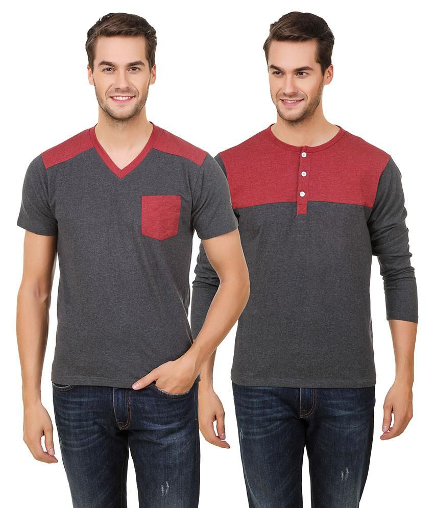 Hue Zephyr Grey V-Neck T-Shirt Pack of 2