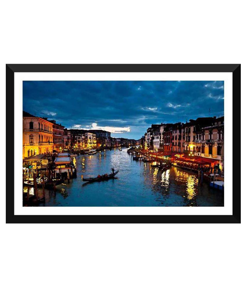 Tallenge A Beautiful Night View Of Venice Paper Art Prints With Frame Single Piece