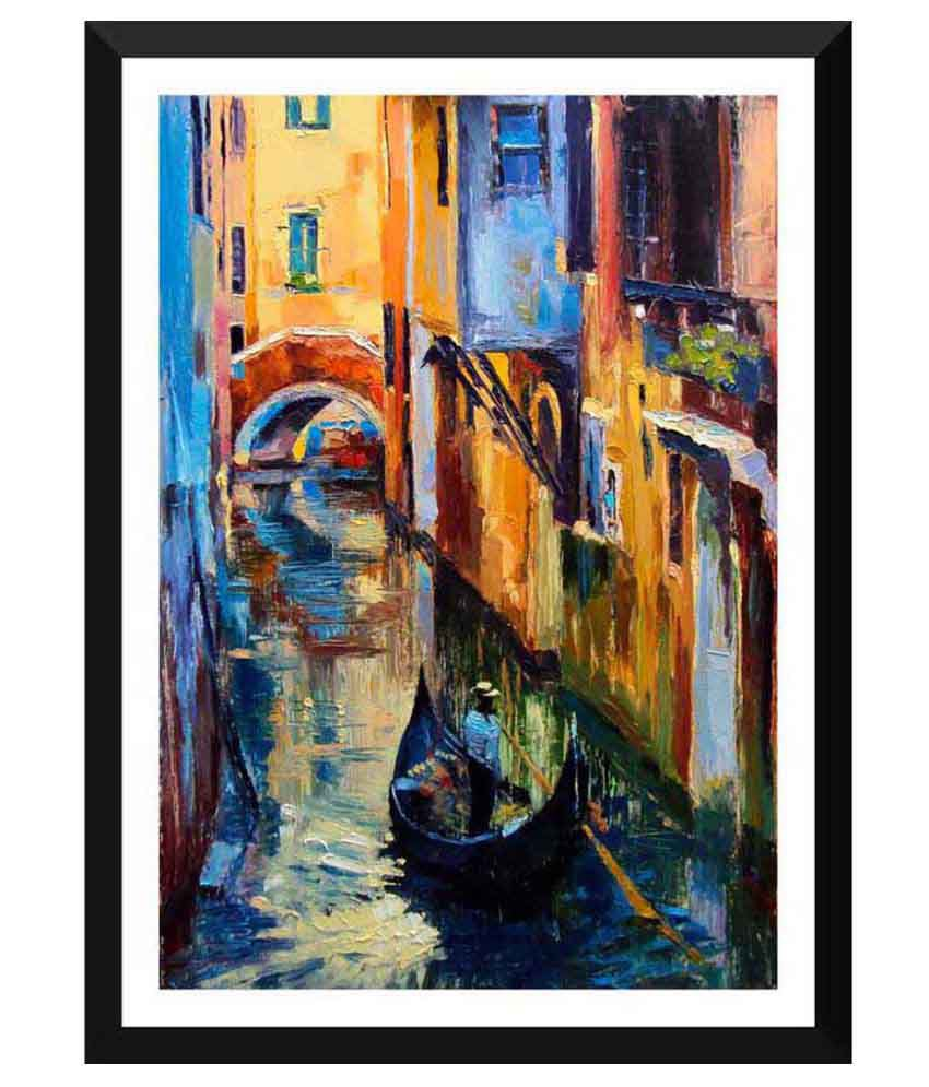 Tallenge Oil Painting Of Gondola In A Canal In Venice Paper Art Prints With Frame Single Piece
