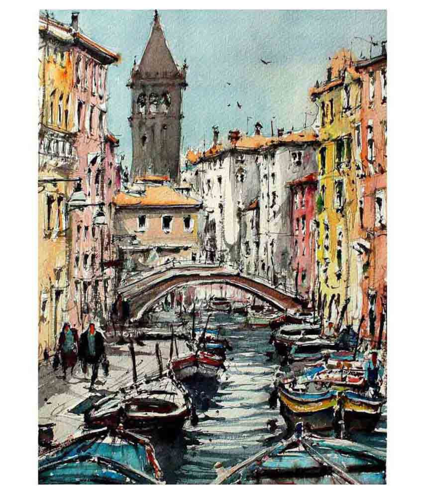 Tallenge Painting Of Gondolas Canvas Art Prints With Frame Single Piece