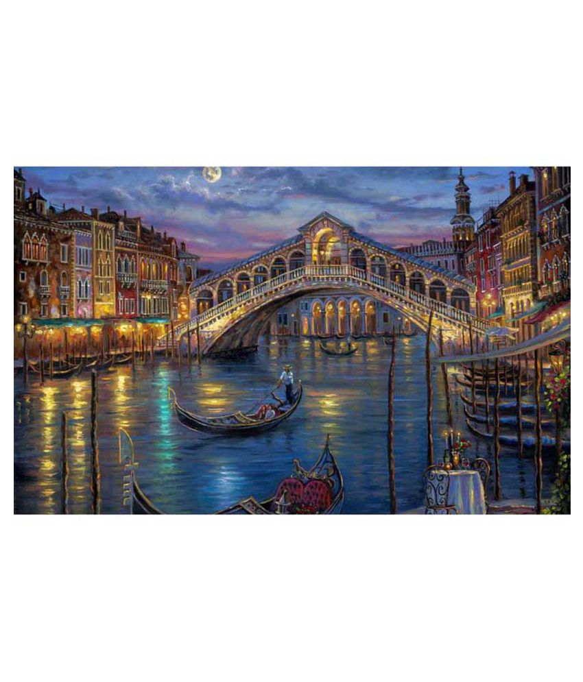 Tallenge Painting Of Romantic Gondola Canvas Art Prints With Frame Single Piece