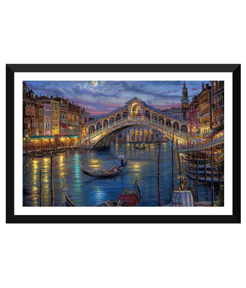 Tallenge Painting Of Romantic Gondola Paper Art Prints With Frame Single Piece