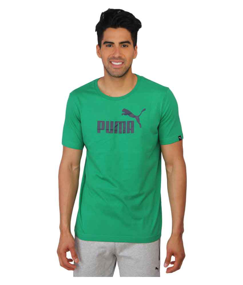 Puma Mens Green Solid T-Shirt