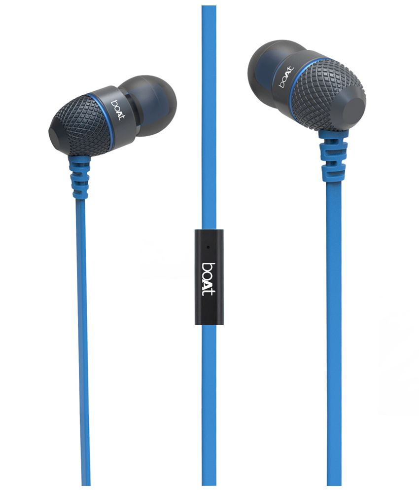 ... boAt BassHeads 200 Extra Bass In Ear Wired With Mic Earphones Blue Earbuds Ear Buds Handsfree ...