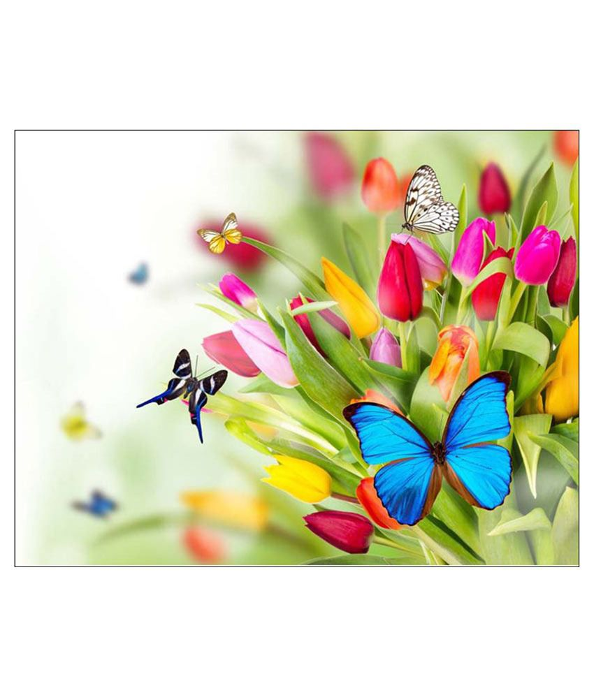 Tallenge Beautiful Butterflies On Flowers Paper Art Prints Without